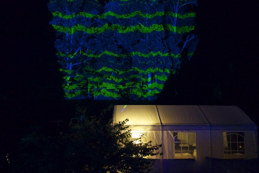 A giant projection into the woods across from our lodge using a 10,000 lumen projector. Photo by Faythe Levine